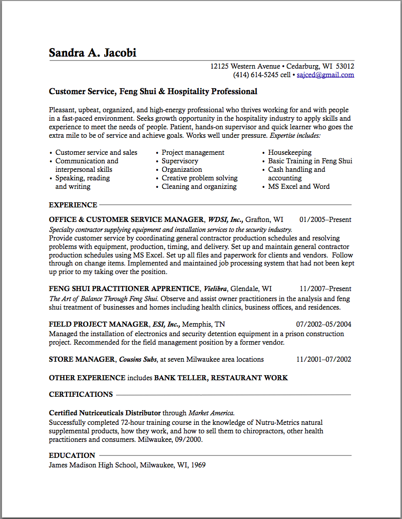 Resume career change sample