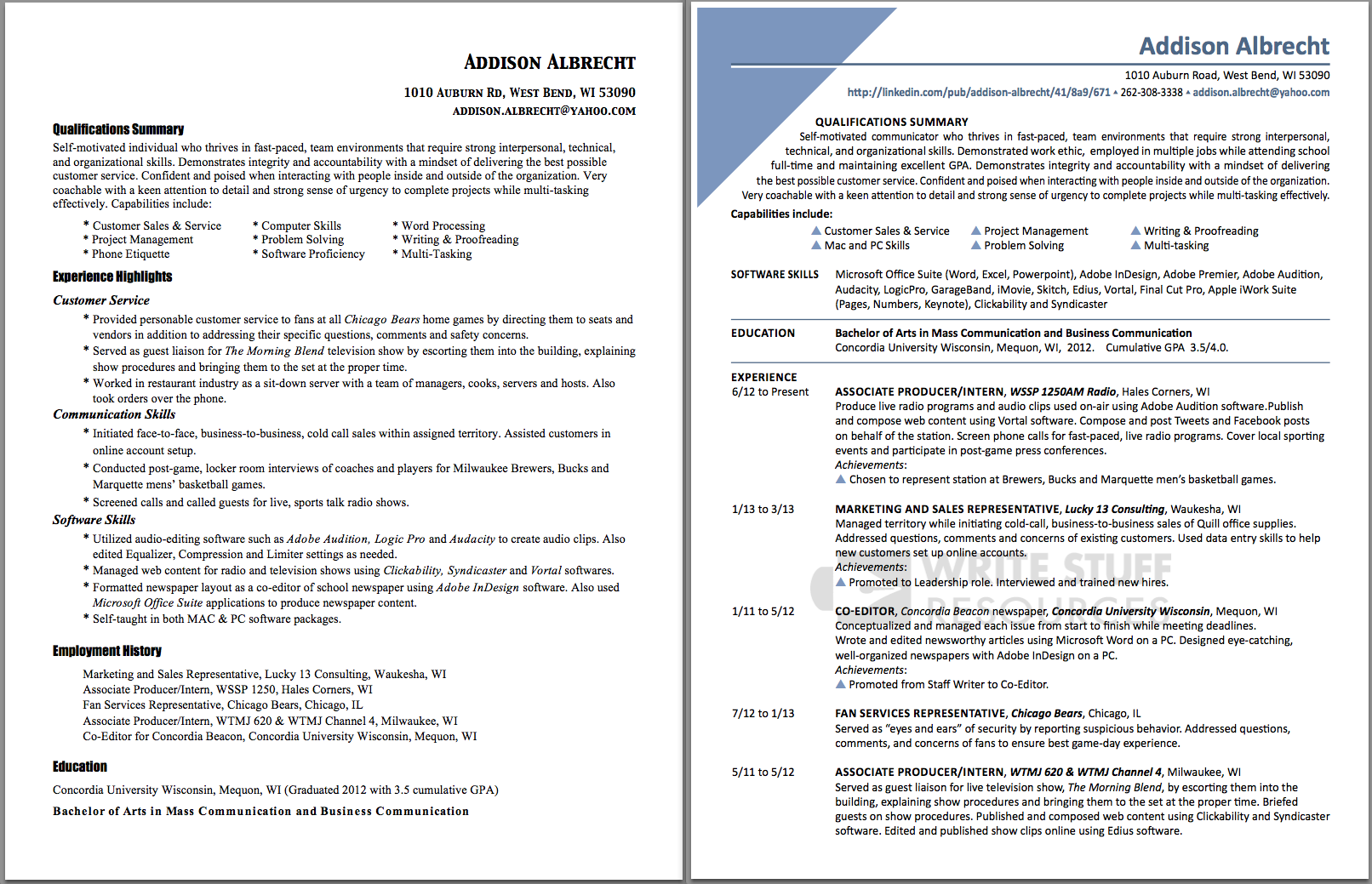 student resume-before  u0026 after