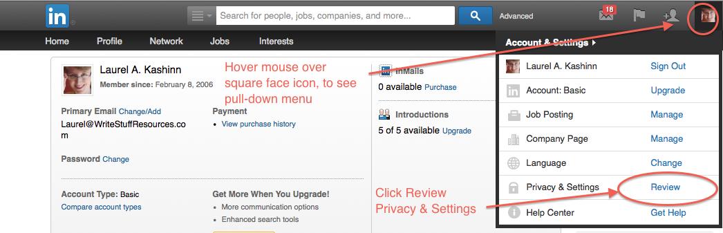 LinkedIn profile - ReviewPrivacy&Settings