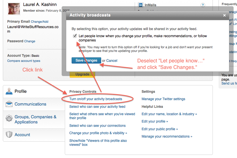 LinkedIn profile - Turn Off Activity Broadcasts