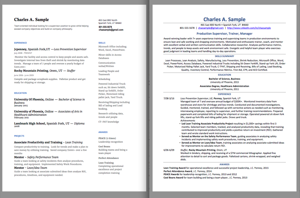 Resume makeover - before and after.